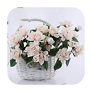 F-pump 1 Bouquet 7 Heads Romantic Artificial Flower Gardenia DIY Silk Flower Fake Flowers for Party Home Wedding Decoration