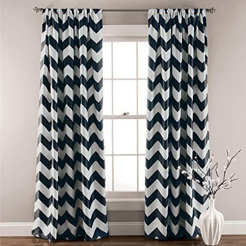 "Lush Decor, Black Chevron Blackout Curtains Window Panel Pair   Room Darkening, Energy Efficient Drapes 84"" x 52 Set 84"" x 52"""