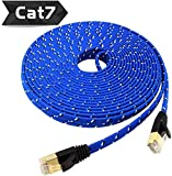 Nylon Cat 7 Ethernet Cable 50Ft, Tanbin Cat7 RJ45 Network Patch Cable Flat