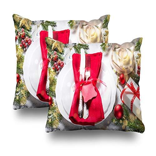 GFGKKGJFD Juego de 2 fundas de cojín para decoración de velas navideñas, color gris, 18 x 18 cm, para sofá, adolescentes, niñas, regalos
