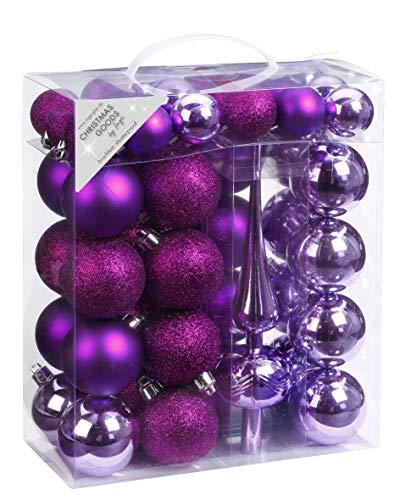 Inge-glas 47 Christbaumkugeln Kunststoff 4cm und 6cm mit Spitze Set, Farbe: violett - lila Glanz/matt