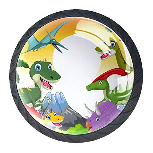4 pomos redondos para armario, cajón, puerta, pomo para selfie, diseño de dinosaurios