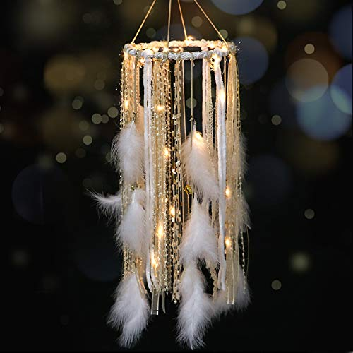Traumfänger mit weißer Feder Großer Spitzen-Traumfänger LED-Lichterketten von 2AA Batteriebetrieben Baby Kinder Schlafzimmer Dekoration Hochzeitsfeier Ornament Geschenk Kinderzimmer Dekor