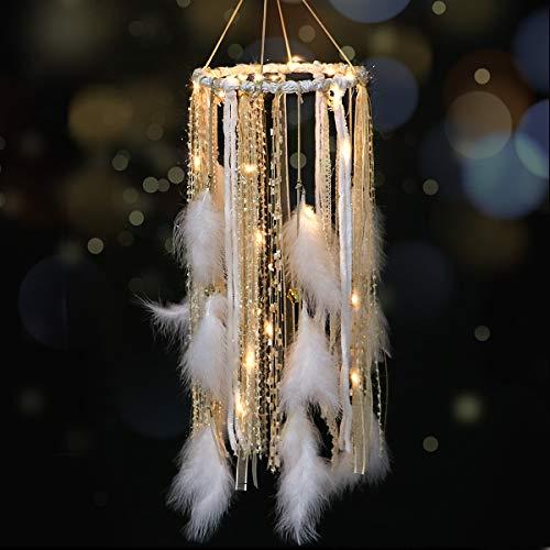LOMOHOO Traumfänger mit weißer Feder Großer Spitzen-Traumfänger LED-Lichterketten von 2AA Batteriebetrieben Baby Kinder Schlafzimmer Dekoration Hochzeitsfeier Ornament Geschenk Kinderzimmer Dekor