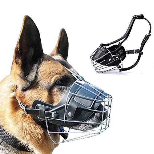 Supet - Bozal de Metal para Perros, antimasticable, antimordedura, Transpirable, máscara de Seguridad para Perros pequeños, medianos y Grandes, Cubierta de Boca Ligera, Duradera, cómoda y Segura