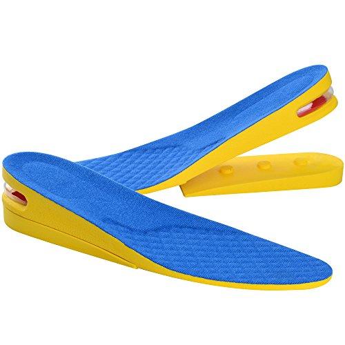 Soumit 2-Layer Invisibile Aumento di Altezza Solette Blu S (EU 35-40), Unisex Confortevole Traspirante Alzatacco Solette per Riducendo lo Stress e Migliorare la Fiducia