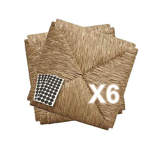 ZStyle Set SEDUTE Paglia MOD 998 37x37 cm Seduta Sedile Ricambio Telaio Fondo per Sedie Impagliate Sedia + FELTRINI Omaggio (6 Pezzi)