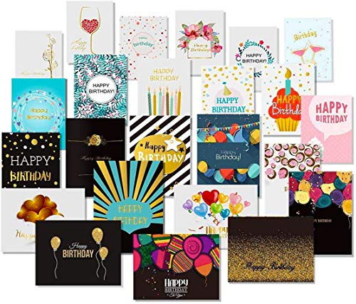 24 Happy Birthday Cards with Gol...
