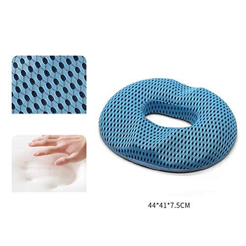 Coccyx Pain Relief Cushion Seat Cushion Office Chair Cushion Coccyx Cushion Sciatica Pain Cushion Memory Foam Hemorrhoids Cushion Office Chair Cushion Postpartum Hollow Cushion-Blue_44*41*7.5Cm