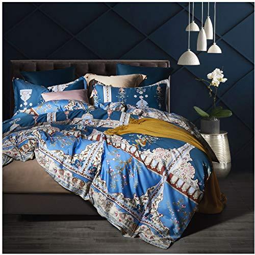Eikei Home Damask Medallion Luxury Duvet Quilt Cover Boho Paisley Print Bedding Set 400 Thread Count Egyptian Cotton Sateen Vibrant Bohemian Pattern (King, Blue Scarf)