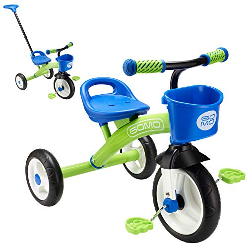 GOMO Kids Tricycles for 2 Year Olds, 3 Year Olds & Kids 1-6, Big Wheels Baby Bike Toddler Bikes - Trikes for Toddlers with Push Handle (Green/Blue)
