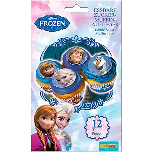 DECOCINO Muffin-Aufleger Frozen – 12 Stück, ø 4,5 cm - essbare Disney Eiskönigin Kuchen-Deko, ideal zum Verzieren und Dekorieren von Muffins & Cupcakes – laktosefrei & halal