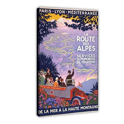 Vintage 1920s French Route Des Alpes Francia Travel Poster Re Print 16×24 pulgadas (40×60cm) Frame:1