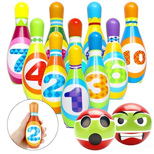 Joyibay Juego de Bolos para niños con 10 Bolos y 2 Bolas,