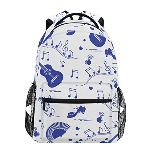 NIKIVIVI Student Backpack Seamless Pattern Fan Shoes Castanets Notes Big for Gi