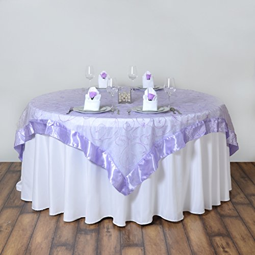 BalsaCircle 72x72-Inch Lavender Embroidered Sheer Organza Table Overlays - Wedding Reception Party Catering Table Linens Decorations