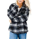 EpicLife Camisas con botones para mujer, camisa casual de manga larga, mezcla de lana con bolsillos, ropa de otoño, Negro, XL