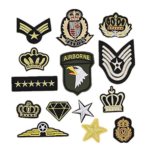 Bella 14pcs Parches Apliques Patches Sticker Parche Termoadhesivo Bordado US Ejército Corona Estrella Insignia Badge Estilo militar Iron Iron On Patch para Camiseta Jeans Ropa Bolsas