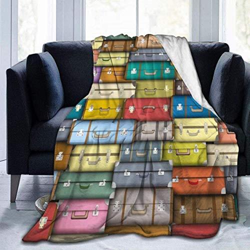 AEMAPE Manta Maleta de Viaje de Colores Maletas Manta de Lana Manta Plegable Manta de Tiro Sofá Lavable Manta de sofá Manta de Playa para Oficina 60x80in