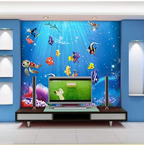 Sea World Fishes 3d Cartoon Murals Wallpaper für Baby Kinderzimmer Hintergrund 3d Fototapete 3d Cartoon Sticker Tapeten-200cmx140cm