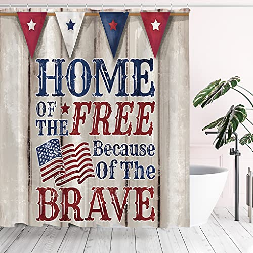 Tititex 4th of July Independence Day Shower Curtain Sets, Home of The Free Patriotic USA Flag Bathroom Decoration 70x70 Inch with Hooks