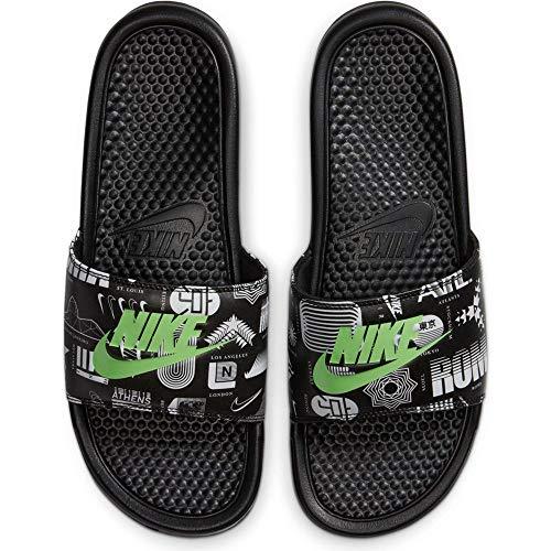 Nike Benassi JDI Print, Sandal Hombre, Black/Green Strike-Black-White, 45 EU