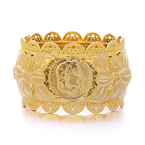 HUSHOUZHUO Schmuck Dubai Style Schmuck Münze Big Bangle Für Frauen Gold Farbe BanglesAfrican/India / / Middle East Items