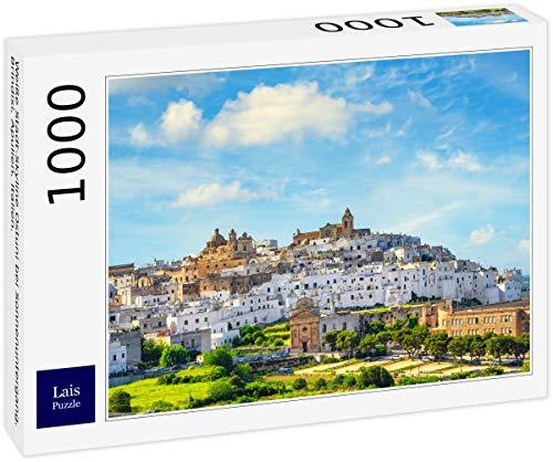 Lais Puzzle Skyline bianco della città di Ostuni al tramonto, Brindisi, Puglia, Italia. 1000 Pezzi