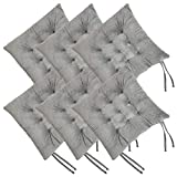 RULLENY Set of 6 Chair Pads and Seat Cushions with Ties...