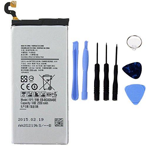Generico Batería de alta capacidad 2550 mAh compatible con Samsung Galaxy S6 G920F con kit de herramientas incluido