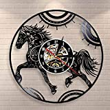 BFMBCHDJ Floral Mandala Horse Clock Mandala Horse Wall Art Reloj de Pared Ecuestre Animales Vinyl Record Reloj de Pared Decorativo