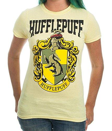 Harry Potter House Crest Hufflepuff Juniors T-shirt (Large, Yellow)