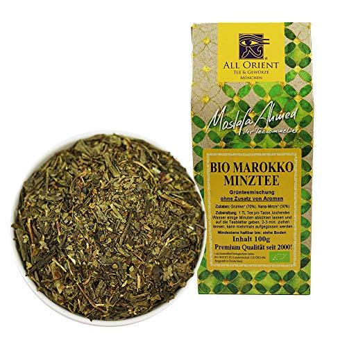 All Orient BIO Marokko Minztee | 100g | Grüner Tee lose | Pfefferminztee | Grünteemischung mit Nana-Minze | Naturbelassen | Ohne Zusatz von Aromen
