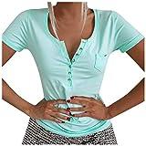 YANFANG Camiseta Ajustada Casual de Manga Corta con Cuello en V y Botones para Mujer con Mangas Cortas,Camisas Blusas Tops Elegantes Casual Túnica Jersey T Shirt Tallas Grandes