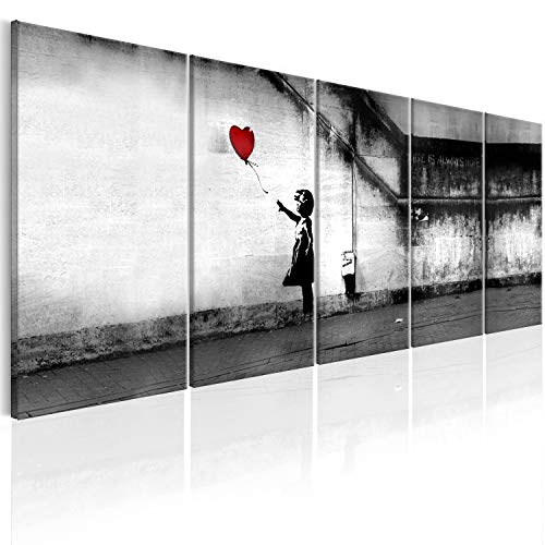 murando Akustikbild Banksy 225x90 cm Bilder Hochleistungsschallabsorber Schallschutz Leinwand Akustikdämmung 5 TLG Wandbild Raumakustik Schalldämmung - Street Art Urban Mural i-C-0113-b-m