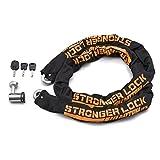 デイトナ バイク用 盗難抑止ロック チェーンロック 2.0m 12mm径チェーン 夜間に便利なLEDキー1本付属 ストロンガーチェーンロック 95398