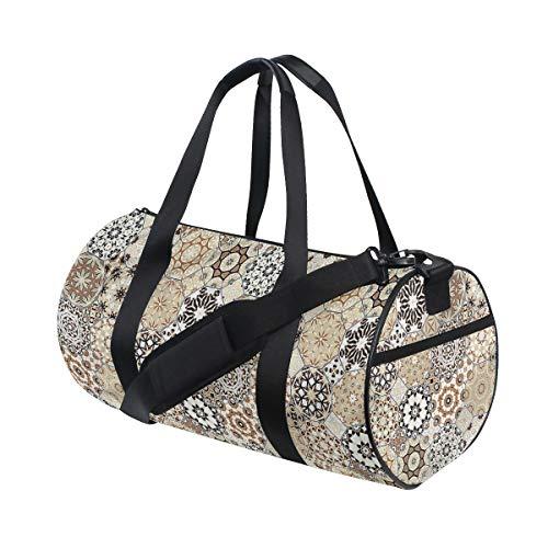 HARXISE Bolsa de Viaje,Estilo Retro Octogonal,Bolsa de Deporte con Compartimento para Sports Gym Bag