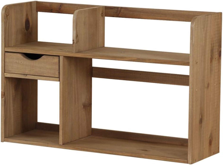 Bookcase,Wooden Double Layer Desktop Bookshelf Desktop Organizer Storage Rack with Drawer Shelf Bookcase (Brown),Brown,59  18  44cm