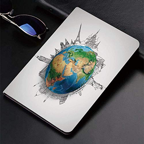 Case for iPad (9.7-Inch, 2018/2017 Model, 6th/5th Generation)Ultra Slim Lightweight Smart Cover,Earth,Globe of Planet Earth Realistic Continents Geography Theme Pencil Ske,Smart Covers Auto Wake/Sleep