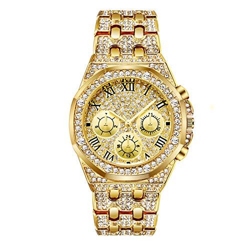 ZGNB Reloj de Diamantes de Lujo Unisex Relojes de Cuarzo Correa de Acero Inoxidable (Oro)
