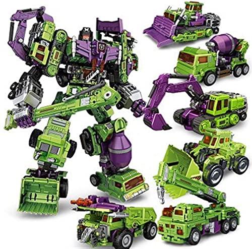 QIXIAOCYB Robot Car, 6 en 1 Juego de Juguetes Robots de deformación, de desconocidos coleccionables Vehículos de construcción para Juguetes de Gran tamaño