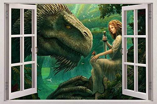 Wandaufkleber Dragon Guardian Big Tree 3D-Fensteransicht Aufkleber WALL STICKER Designer Wandbild Fantasie