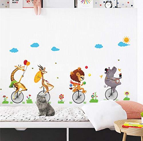 Ppooo Tiere Zirkus Akrobatik Schubkarre Show Wandaufkleber Für Kinderzimmer Wohnkultur Pvc Wandtattoos Diy Wandkunst