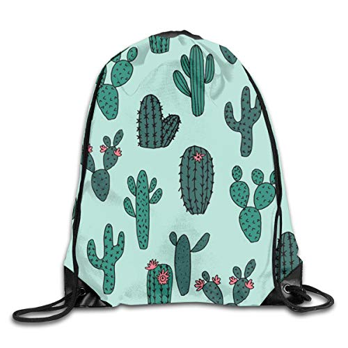 show best Cactus Cacti Succulents Plants Kids Cute Cactus Tropical Drawstring Gym Bag for Women and Men Polyester Gym Sack String Backpack for Sport Workout, School, Travel, Books 14.17 X 16.9 inch