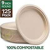 Stack Man 100% Compostable 9' Paper Plates [125-Pack] Heavy-Duty Quality Natural Disposable Bagasse,...