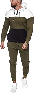 Louyue Men's Hooded Athletic Tracksuit Full Zip Casual Jogging Gym Sweat Suits