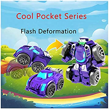 A JAMOR Mini Car Robot Pocket Toy Transformable Toy Car Car Robot Toy Car Interactive Toys Educational Toys Convenient to Play Fun Hands-On Toys