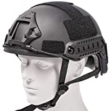 Airsoft MH Helmet Express Edition Fast Base Jump Helmet ABS Military Tactical Helmet for Paintball Wargame (Black)…
