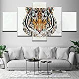 QYY 5 Canvas Paintings HD Prints Posters Canvas for Living Room Home Decor 5 Pieces Wild Animal Lion Paintings Black White Pictures Wall Art