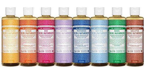 Dr. Bronner´s Naturseife Baby-mild (ohne Duft) 18-in-1 Magic Soap natürliche Flüssigseife aus biologischem Anbau, vegan, keine Zusatzstoffe, Fair Trade zertifizierte Bioseife (1x60ml)